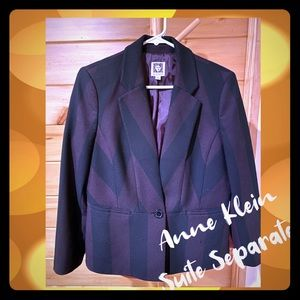 EUC Anne Klein Suit Separates plum striped blazer
